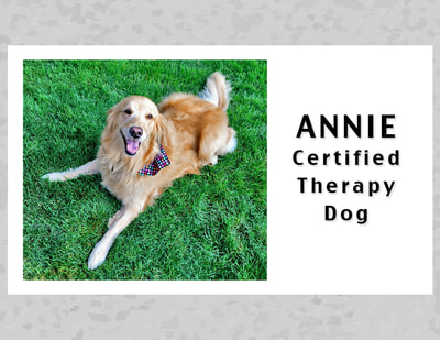 Business Card Certified Therapy Dog, Annie.