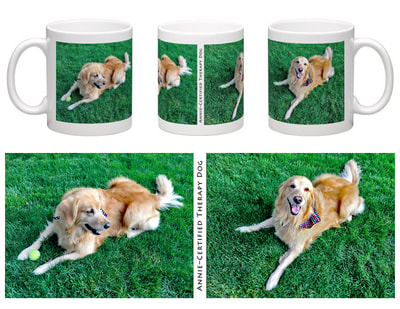 Layout and design for Coffee Mug featuring Annie, the Certified Therapy Dog. And pics of the finished product.