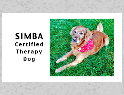 Business card for Certified Therapy Dog, Simba.