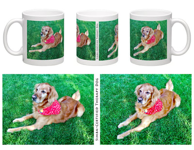 Layout and design for Coffee Mug featuring Simba, the Certified Therapy Dog. And pics of the finished product.