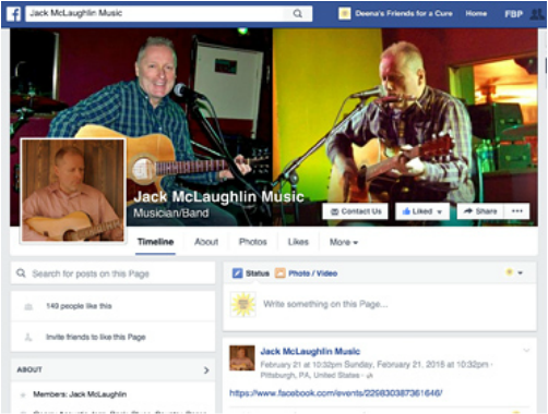 Jack McLaughlin Music Facebook Fan Page